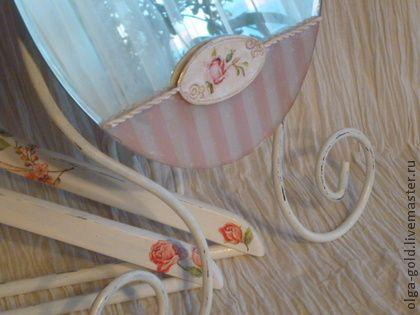 Зеркало в стиле Шебби шик - бледно-розовый,зеркало,Декупаж,интерьер,спальня