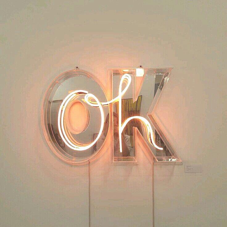 Oh Ok Mirror Neon Typo Neon Signs Lighting Decor