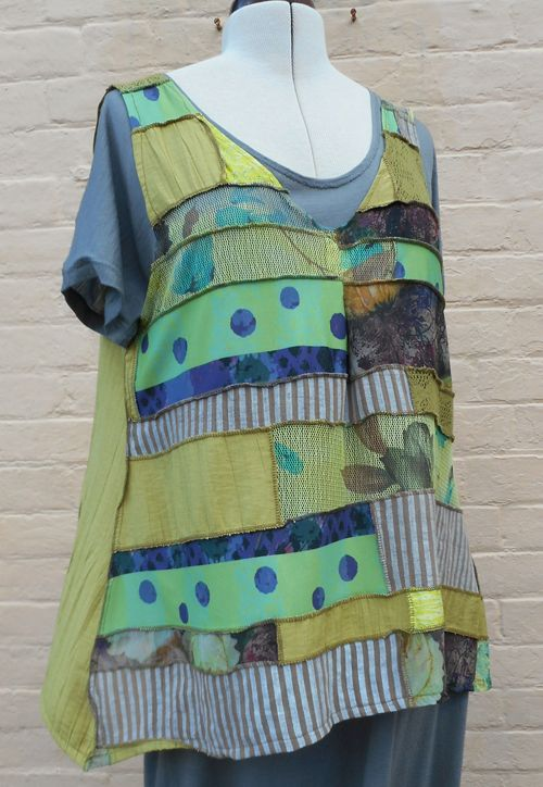 Patchwork Polly vest made in coordinating fabrics. pdf pattern at boho-banjo-art-to...