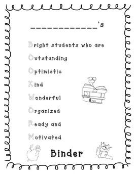 This is a great cover for any students' binder/folder. A special thank you to Krista Walden from Creative Clips for the amazing borders. Visit her TPT Store here: http://www.teacherspayteachers.com/Store/Krista-Wallden