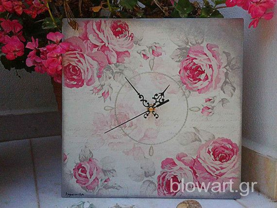 Wall clock Pink Silver Spring  Cottage chic  Decoupaged by Blowart, €29.00