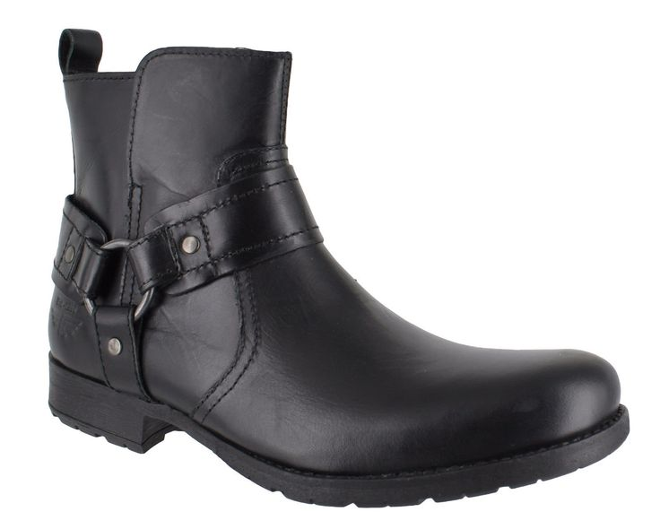 Red Tape Medlock Mens Black Leather Harness Chelsea Cowboy Boots UK 10