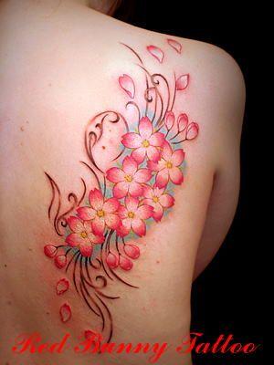 Flower(花と蝶)「吉祥寺 RED BUNNY TATTOO/赤兎刺青」タトゥーの画像,デザイン
