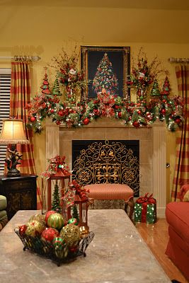 Wow! Look at that gorgeous mantel decorated for Christmas! Kristen's Creations: Christmas Tree Lanterns