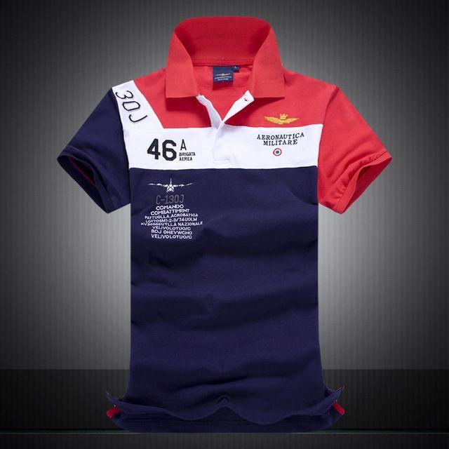 Caliente! nuevo 2015 de la alta calidad Camisas masculinas, polo aeronautica militare, para hombre de marcas polo Air Force One bordado