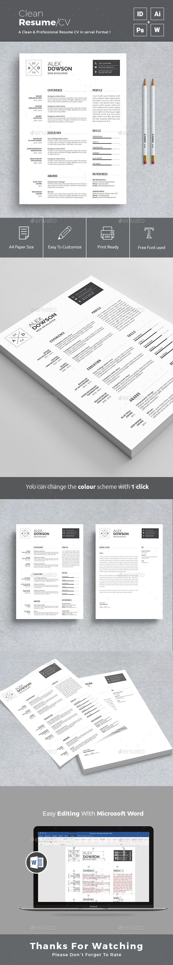 Simple Minimalist Resume Design Template - Resumes Stationery Design Template PSD, InDesign iNDD, AI Illustrator. Download here: https://graphicriver.net/item/resume/19396797?ref=yinkira