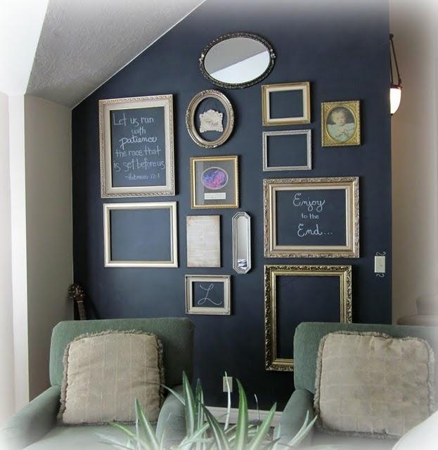 chalkboard wall with empty frames: