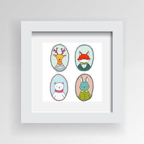 Ivaleegifts - Framed Artwork  Deer, Fox, Bear n Rabbit 30cm * 30cm, $29.95 (http://www.ivaleegifts.com.au/framed-artwork-deer-fox-bear-n-rabbit-30cm-30cm/)