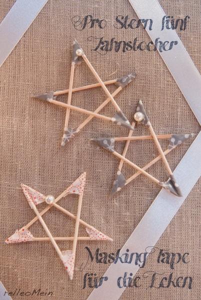 DIY Sterne aus Zahnstochern und Masking Tape Weihnachtsdeko