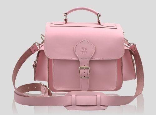 Pink Leather Camera Bag