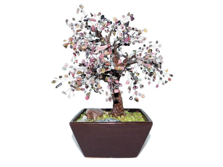 23cm Tourmaline Bonsai Lilac Tree in Brown Ceramic Pot. Handmade Feng Shui Gemstone Tree. Purple Pink Beaded Bonsai. Office Interior Decor by BeadedGardenCanada on Etsy