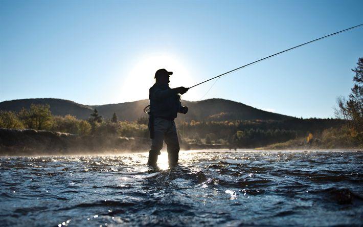 Download wallpapers fishing, 4k, mountain river, trout fishing, fishing concepts, fisherman, fishing tackle, Canada