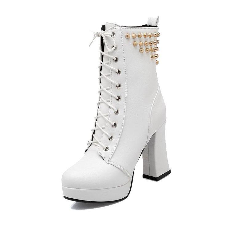 Ladies Chunky Heels Bandage Rivet Black Imitated Leather Boots - 9 B(M) US