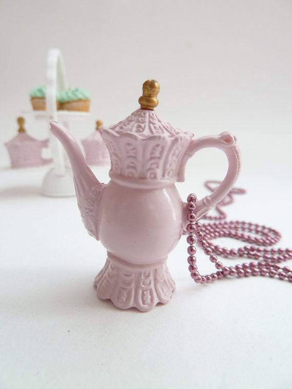 Teapot  necklace Pendant alice in wonderland miniature door shimrita, $12.99