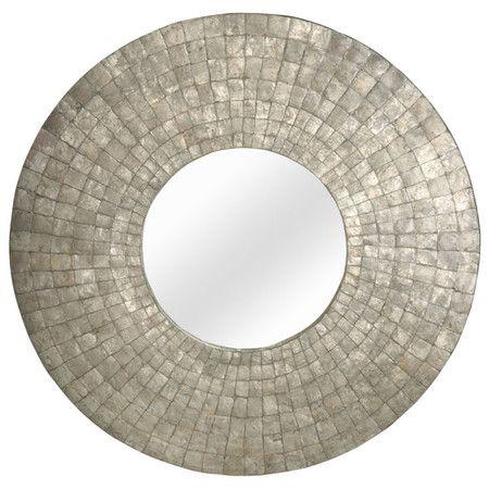 Capiz wave mosaic floor mirror