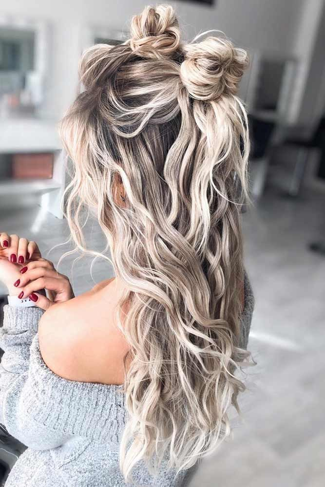 Half Up Hairstyle With Messy Knots  #hairstyles #thickhair #hairtype #halfuphairstyles ❤ See the best collection of ideas and get inspiration.  #lovehairstyles #hairideas