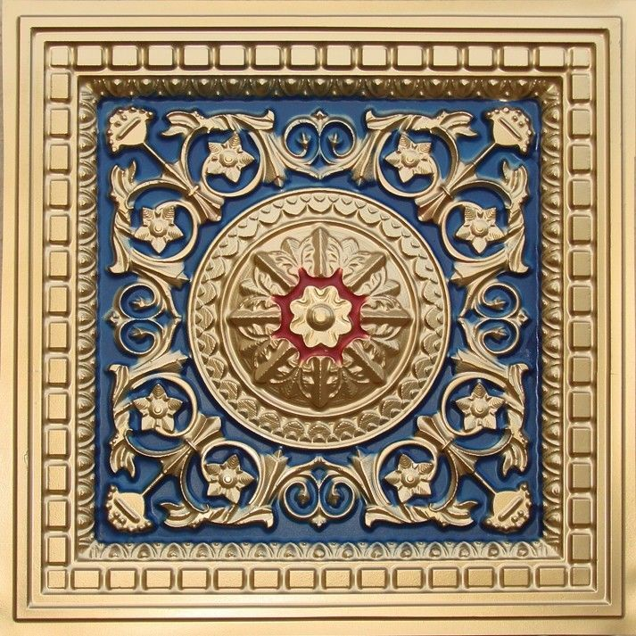 """Gold-Blue-Red D215 PVC CEILING TILES TIN LOOK DROP-IN """" 2'x2' SALE!! #EuroDeco #Decorative"""