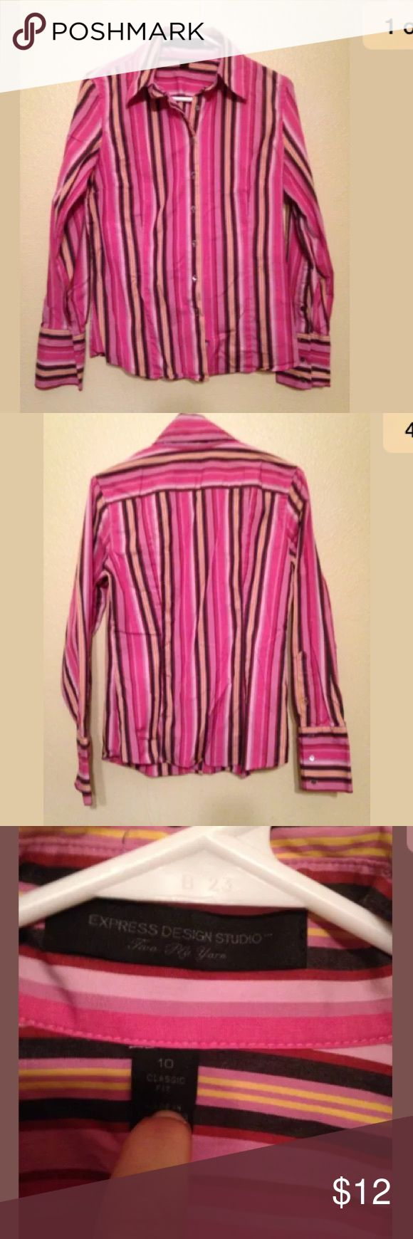 Express Design Studio Button Down Shirt Pink Sz 10 Express Design Studio Women's Sz 10 Button Down Shirt Striped Pink Classic Fit Express Tops Button Down Shirts
