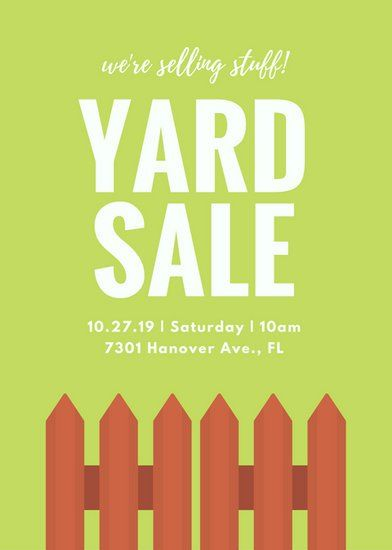 Green Fence Yard Sale Poster