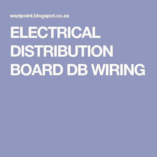 ELECTRICAL DISTRIBUTION BOARD DB WIRING