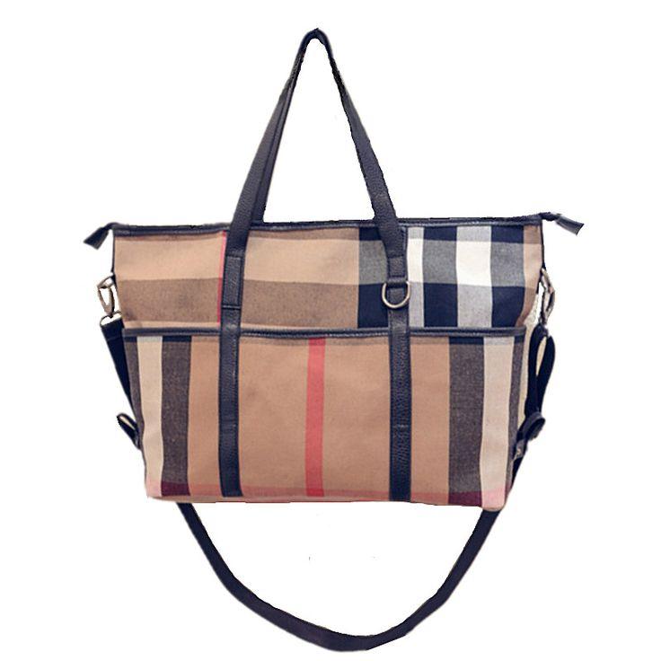 2017 Autumn New Trend Women's Canvas Plaid Handbags Single Shoulder Bags Women's Large Capacity Tote Bags