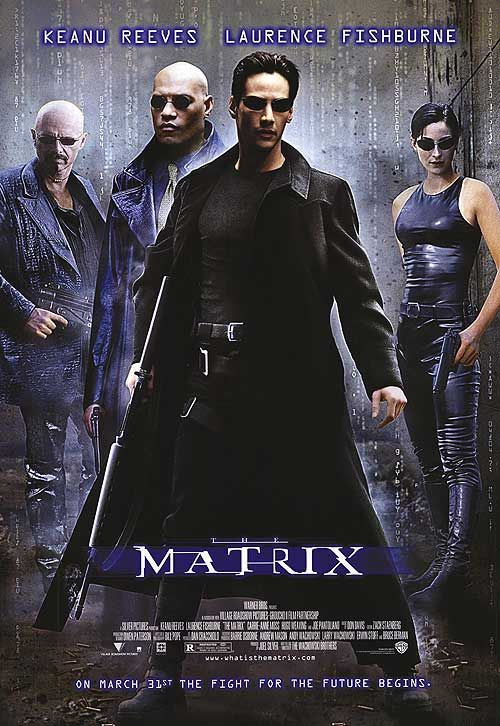 1999.  A computer hacker learns from mysterious rebels about the true nature of his reality and his role in the war against its controllers. Stars: Keanu Reeves, Laurence Fishburne, Carrie-Anne Moss.