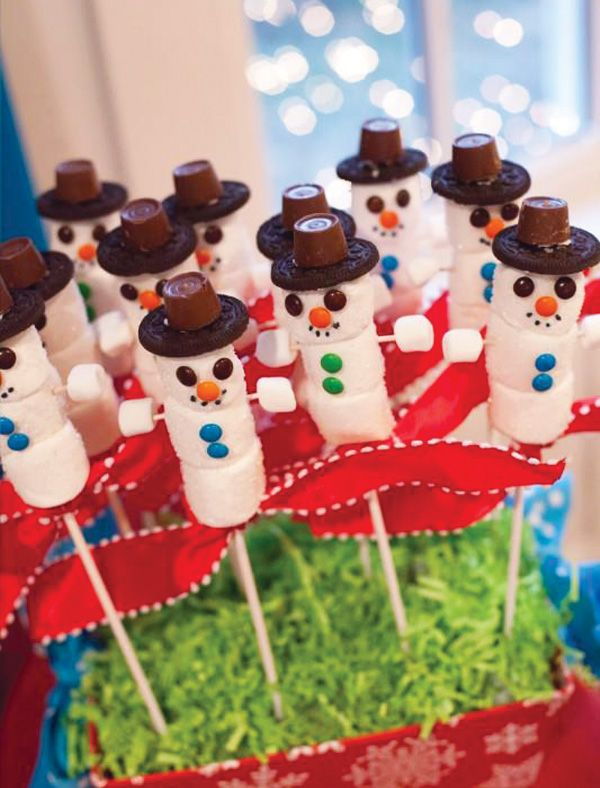 Marshmallows + mini M&Ms + Rolos + Oreos = Yummy Snowmen!!