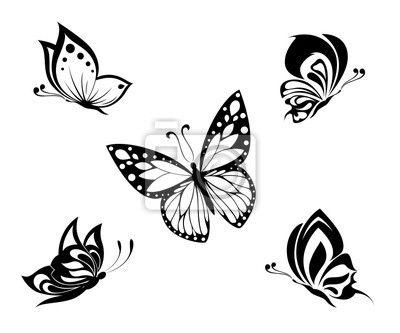 Obraz / Plakat tatuaż czarno-białe motyle, zestaw - godło • PIXERS.pl