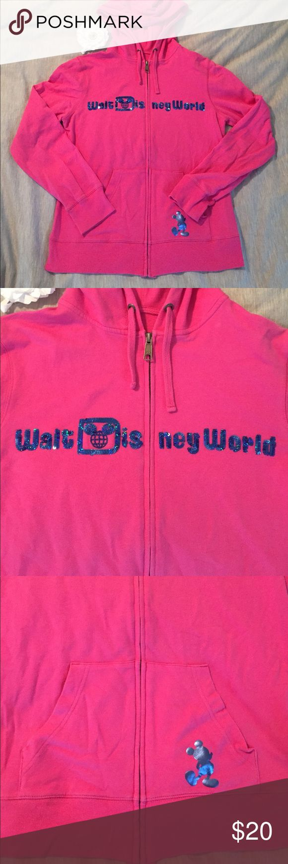 Walt Disney World Pink Zip-up Hoodie Size S Walt Disney World Pink Zip-up Hoodie Size S. Purchased in Disney World and wished I had bought a bigger size, as they don't make this hoodie anymore 😞. It is in perfect condition! Hoping it can find a good home! Disney Tops Sweatshirts & Hoodies