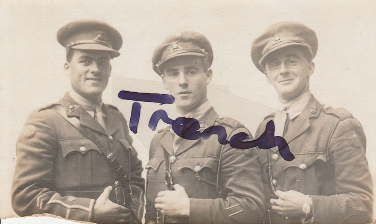Lancashire Fusiliers named Officers postcard , showing battle patches etc