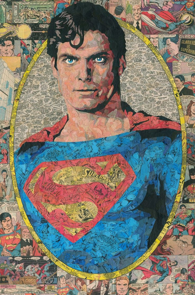 Christopher Reeve Superman Comic Collage - giclee print by ComicReliefOriginals on Etsy