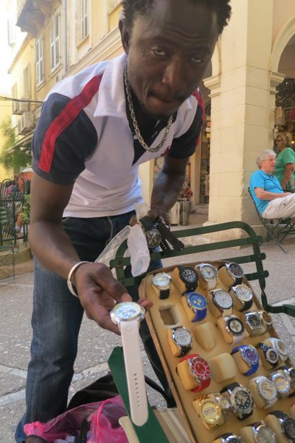 Selling watches in Corfu, Greece.