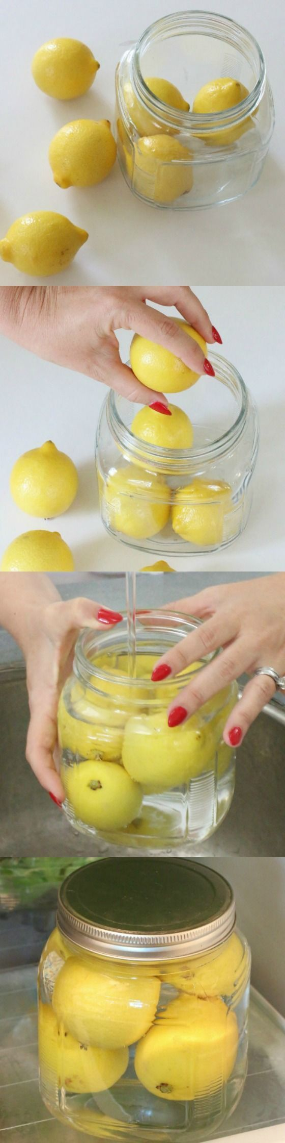 Stop keeping your lemons on your counter top, in the pantry, or in a bag in your fridge. There is a better way! Cover with water and place in fridge. It seals the peels and keeps them fresh.