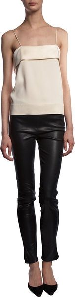 The Row Beige Aveley Top + leather pants
