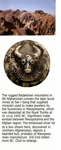 Bearded bull image on embossed silver lid to a box, discovered in northern Afghanistan