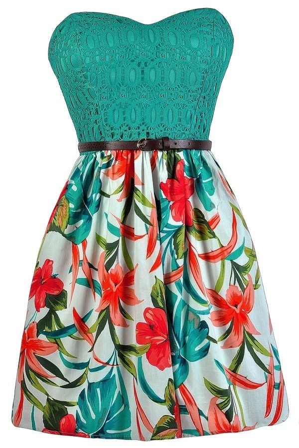 Lily Boutique Florida Keys To My Heart Tropical Printed Dress, $38 Tropical…
