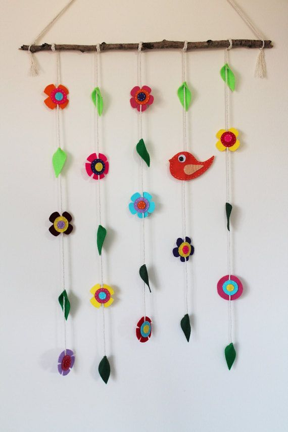 Bird Flowers and Leaves Wall Hanging/Mobile by TinyHappyBee