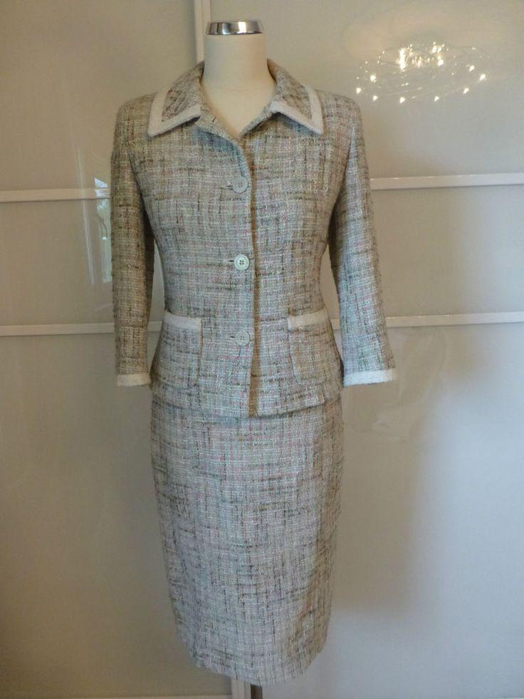 LK BENNETT Boucle Tweed Suit Boucle Jacket Skirt S 8/10 White Pink Green Tweed
