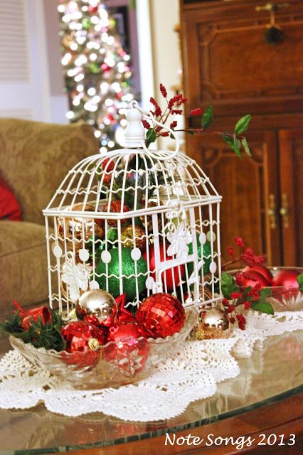 Christmas bird cage - ooo I'll do this with my bird cage during the holidays!