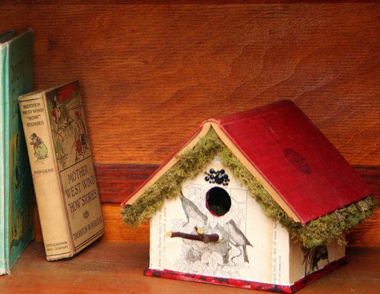Book Birdhouses: Create birdhouses from the pages and covers of your old books.   Source: Etsy user storybookfairy