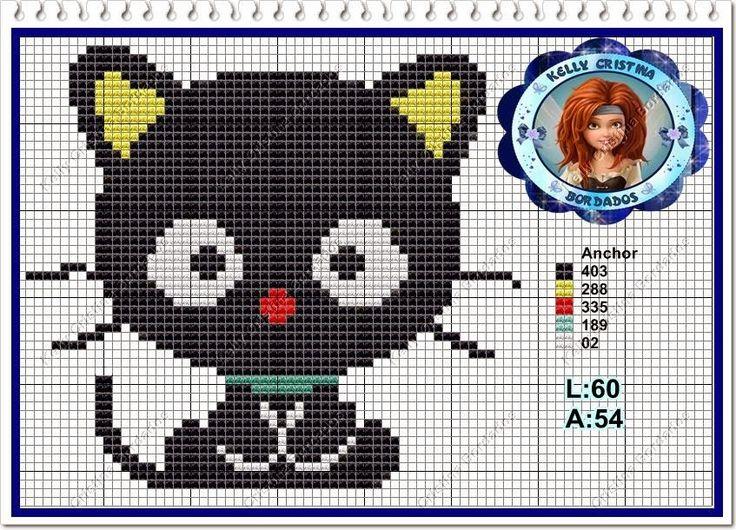 Ângela Bordados: Eu amo gatinhos...e tenho um pretinho que é um lin...