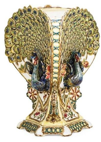 "MONUMENTAL ZSOLNAY PEACOCK VASE Three-sided with figural peacocks on each side, Hungary, early 20th c. 18"" x 12"" x 12"" R15/E2250U"