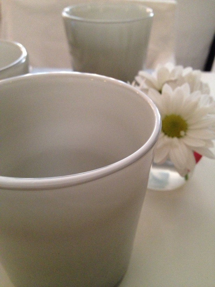 White cup with flower