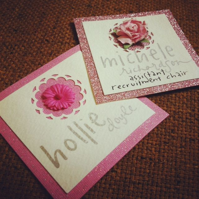 pretty pink recruitment name tags
