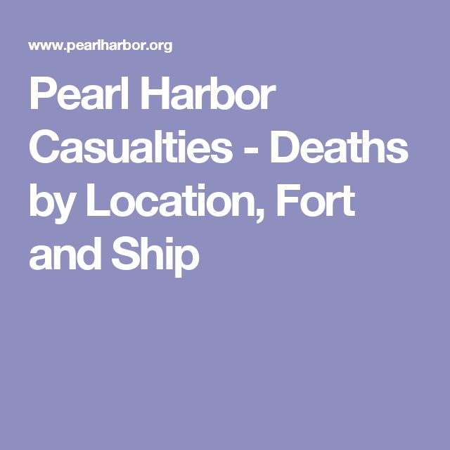 Pearl Harbor Casualties - Deaths by Location, Fort and Ship