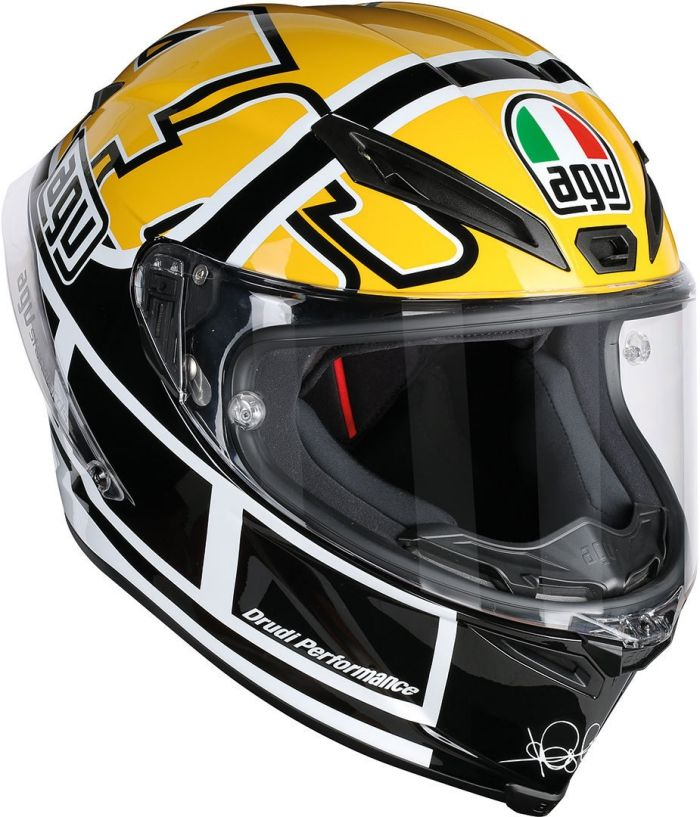 The Valentino Rossi helmet design that he wore for the 2015 Festival of Speed at Goodwood is now available to buy in the AGV Corsa R range. More: http://rossihelmets.com/valentino-rossi-agv-corsa-r-goodwood-helmet/