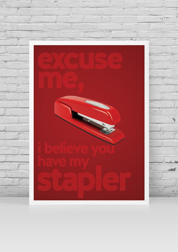 Office Space Minimalist Poster | Melvin Swingline Red Stapler Quote | Office Space Print by stubbornlionstudio on etsy