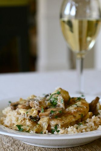 Chicken and Artichokes in white wine sauce -- James' favorite
