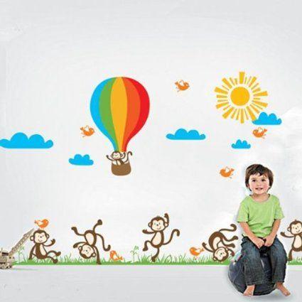 BestOfferBuy Pegatina para Decorar la Pared Calcomanía Escena Infantil Monos Graciosos JM7121