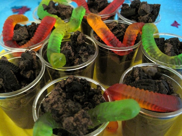 Bug birthday party, worms in dirt ;)